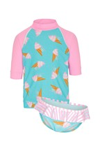 Platypus Australia UV Protection Gelato Rash Vest And Frill Brief Set