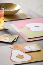 Set of 4 Fruit Placemats And Coasters