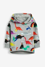 Rainbow All Over Print Dino Hoody (3mths-7yrs)