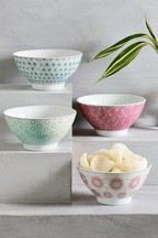 Set of 4 Floral Bowls