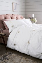 Embroidered Stars Duvet Cover And Pillowcase Set