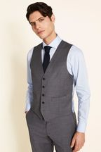 Moss 1851 Tailored Fit Grey Twill Waistcoat