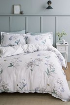 Cotton Sateen Botanical Sketch Floral Duvet Cover And Pillowcase Set