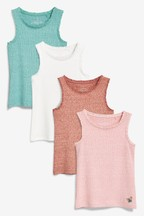 Embellished Rib Vests Four Pack (3-16yrs)