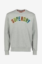 Superdry Grey Long Sleeve Appliqué Tee