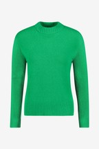 Whistles Green Ribbed Neck Knit Jumper