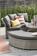 Monaco Round Day Bed With Dark Grey Cushions