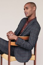 Wool Blend Check Suit: Jacket