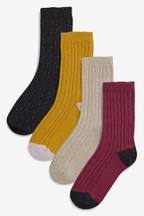 Cable Neppy Ankle Socks Four Pack