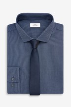 Cotton Regular Fit Single Cuff Textured Shirt And Tie Set