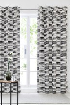 Heavyweight Chenille Block Stripe Eyelet Curtains