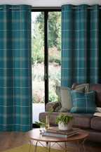 Camden Herringbone Check Eyelet Curtains