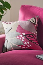 Embroidered Abstract Leaf Cushion