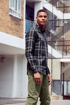Windowpane Check Flannel Shirt