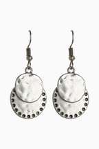 Textured Double Disc Small Earrings