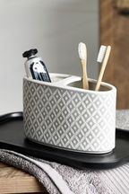 Grey Geo Toothbrush Tidy