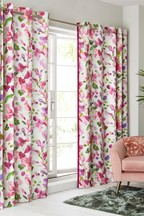 Watercolour Floral Eyelet Curtains