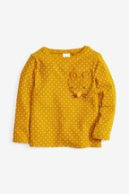 Spot Appliqué Long Sleeve T-Shirt With Character Pocket (3mths-7yrs)