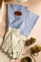 Personalised Blue Leather Gardening Gloves by Treat Republic