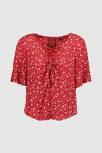 Superdry Red Zoe Tie Blouse