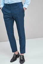 Slim Fit Check Suit: Trousers