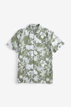 Hawaiian Leaf Print Slim Fit Shirt