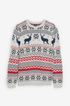 Men's Matching Family Fairisle Pattern Crew Neck Jumper