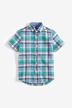 Short Sleeve Linen Blend Check Shirt (3-16yrs)