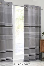 Mono Ombre Stripe Eyelet Curtains