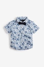 Floral Short Sleeve Shirt And Bow Tie (3mths-7yrs)