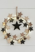 Lit Wooden Star Wreath
