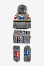Car Fairisle Pattern Hat, Scarf And Mitts Three Piece Set (Younger)