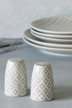 Geo Embossed Salt And Pepper Shakers