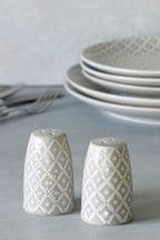 Geo Embossed Ceramic Salt And Pepper Shakers