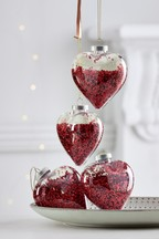 Set of 4 Shaker Heart Baubles