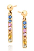 Beaverbrooks 9ct Gold Multi Coloured Sapphire Drop Earrings