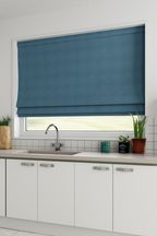 Made To Measure Dark Teal Cotton Roman Blind