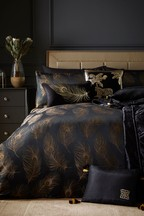 Laurence Llewelyn-Bowen Exclusive To Next Dandy Metallic Feather Jacquard Duvet Cover and Pillowcase Set