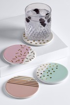 Set of 4 Confetti Ceramic Coasters