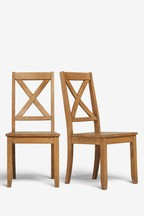 Set of 2 Crossback Wooden Dining Chairs