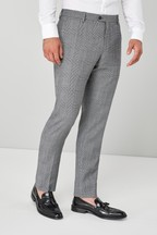 Slim Fit Check Wool Blend Suit: Trousers