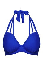 Figleaves Blue Rene Underwired Strapping Non Padded Bikini Top