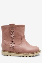 Flower Embellished Ankle Boots (Younger)