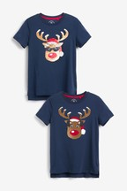Women's Matching Family Flippy Sequin Rudolph T-Shirt
