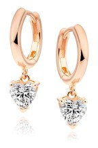 Beaverbrooks 9ct Rose Gold Plated Sterling Silver Cubic Zirconia Heart Hoop Earrings