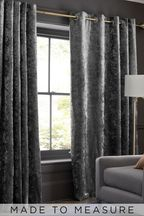 Made To Measure Grey Crushed Velvet Curtains