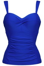 Figleaves Blue Rene Underwired Bandeau Tankini Top