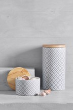 Geo Embossed Ceramic Storage Jar