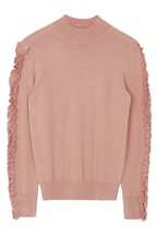 Warehouse Pink Ruffle Sleeve Funnel Jumper