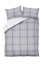 2 Pack Versatile Check Duvet Cover and Pillowcase Set